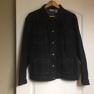 Chico's Size 3 Black Denim Jacket